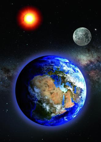 """3D postkaart """"Maa, Päike, Kuu"""""""